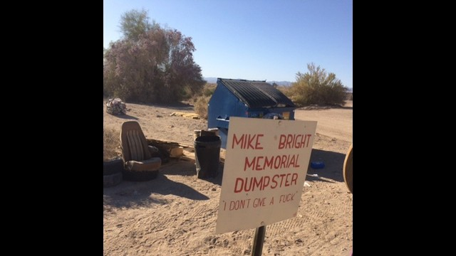 Slab City Trash Management, picture of the Mike Bright Memorial Trash Dumpster site.